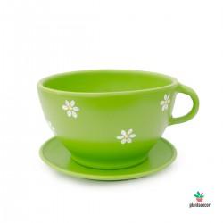 Maceta taza gigante color verde