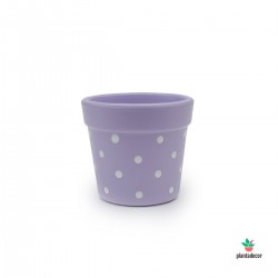 Maceta Petite Dots Lila  Blanco