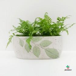 Macetero hojas cemento blanco