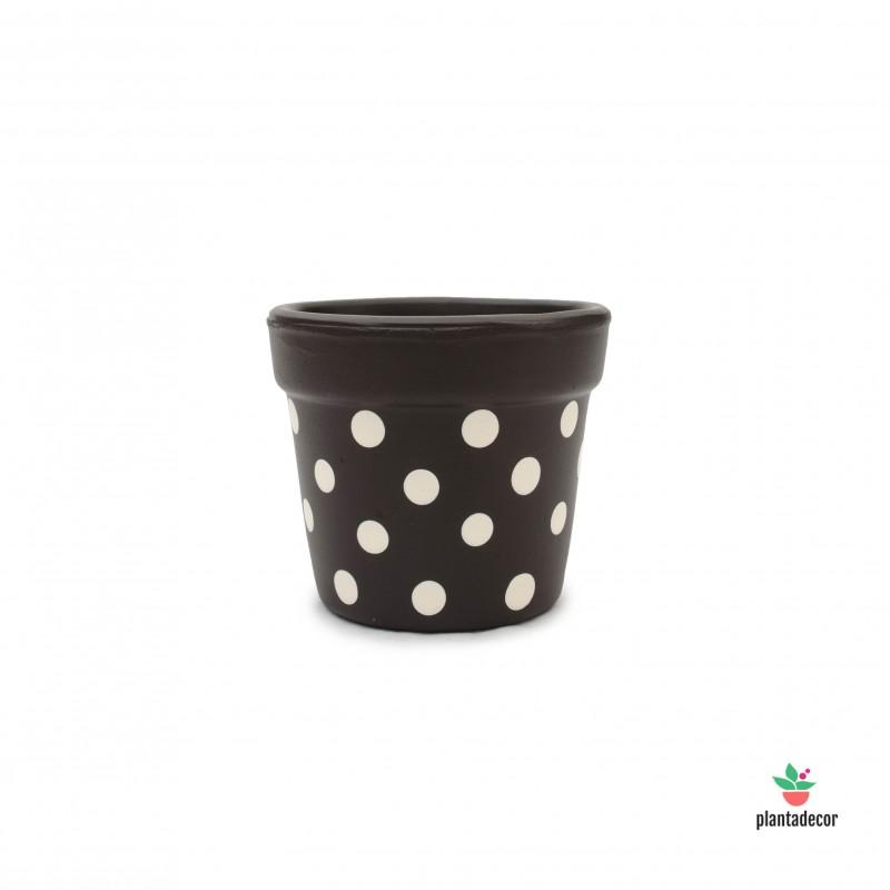 Maceta Petite Dots Marrón / Crema