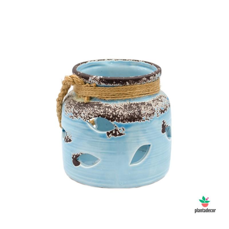 Portavelas cerámico azul celeste 12 cm