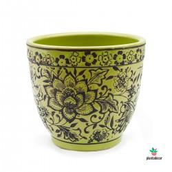 Maceta Loza Floral verde M