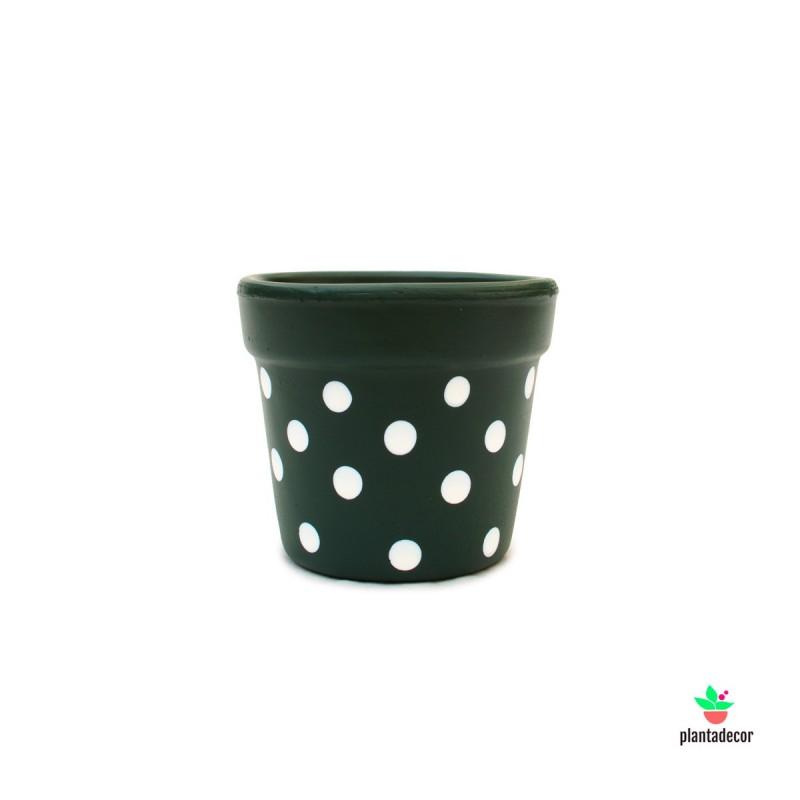 Maceta Petite Dots Verde oscuro/ Blanco