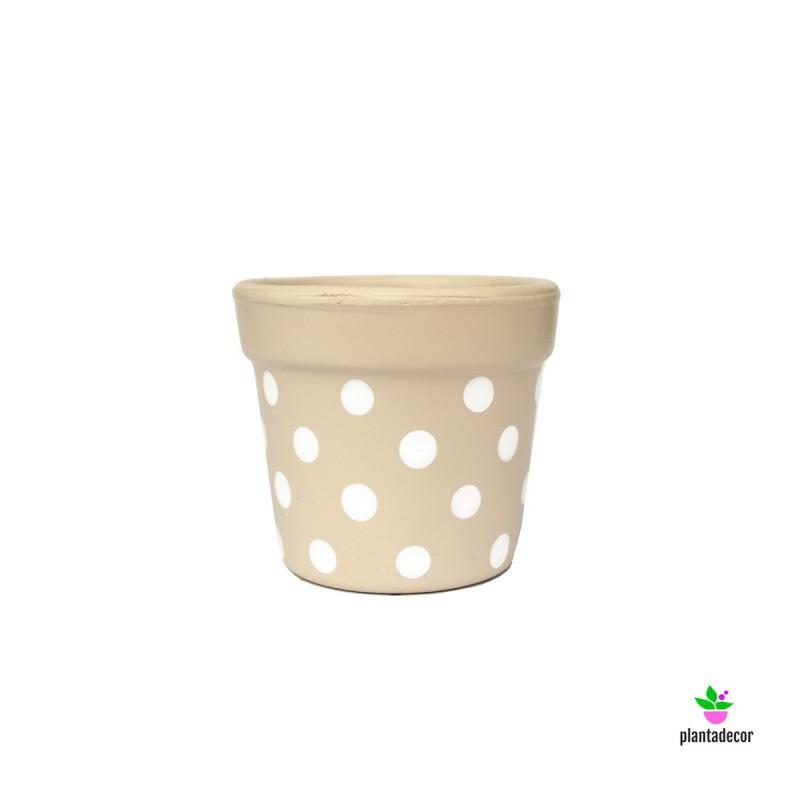Maceta Petite Dots Beige/ Blanco