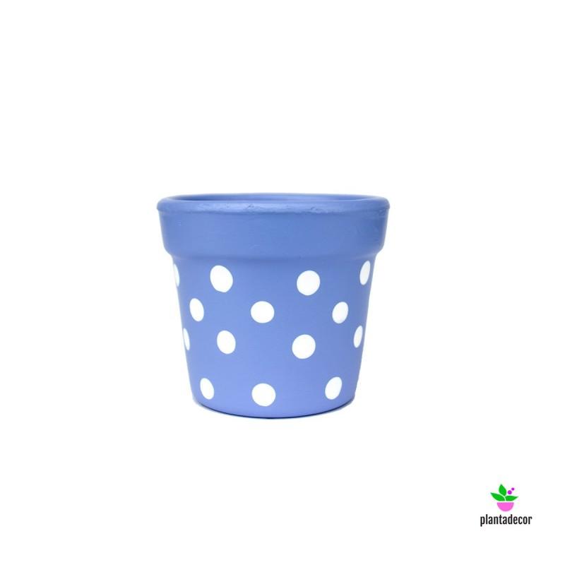 Maceta Petite Dots Azul Lavanda/ Blanco