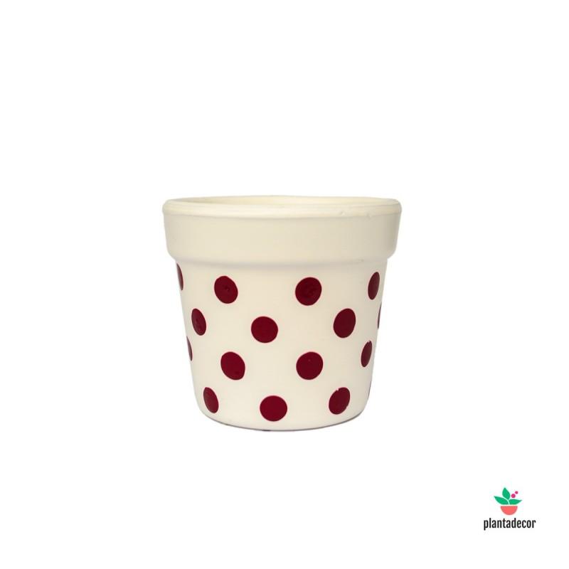 Maceta Petite Dots Crema / Granate