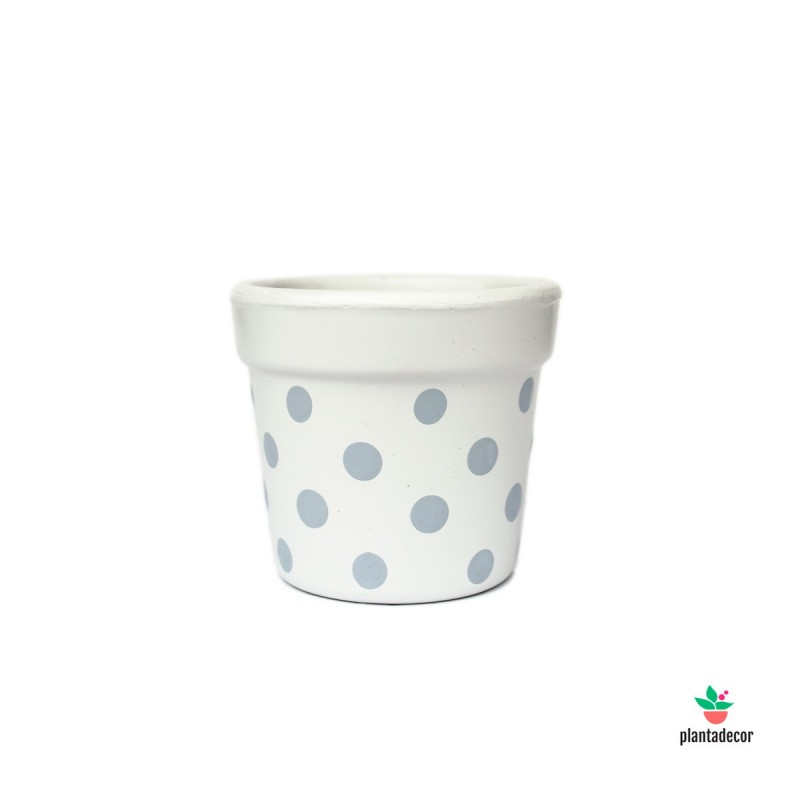 Maceta Petite Dots Blanco / Gris