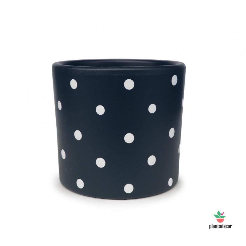 Maceta Cilindrica Dots Azul Marino/Blanco
