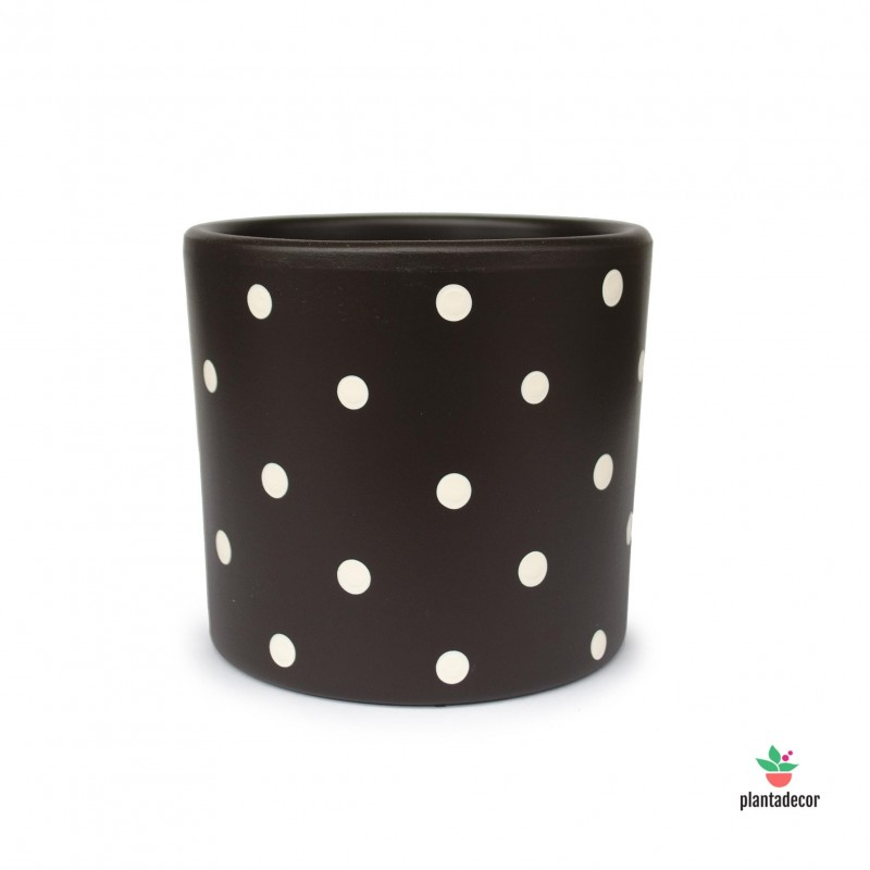 Maceta Cilíndrica Dots Chocolate / Crema