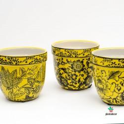 Maceta de loza Floral amarilla