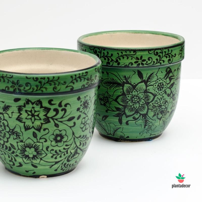 Maceta de loza Floral verde P