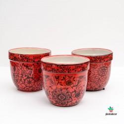 Maceta de loza Floral roja P