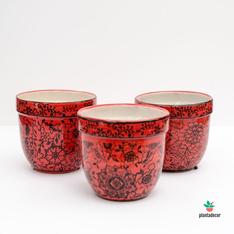 Maceta de loza Floral roja