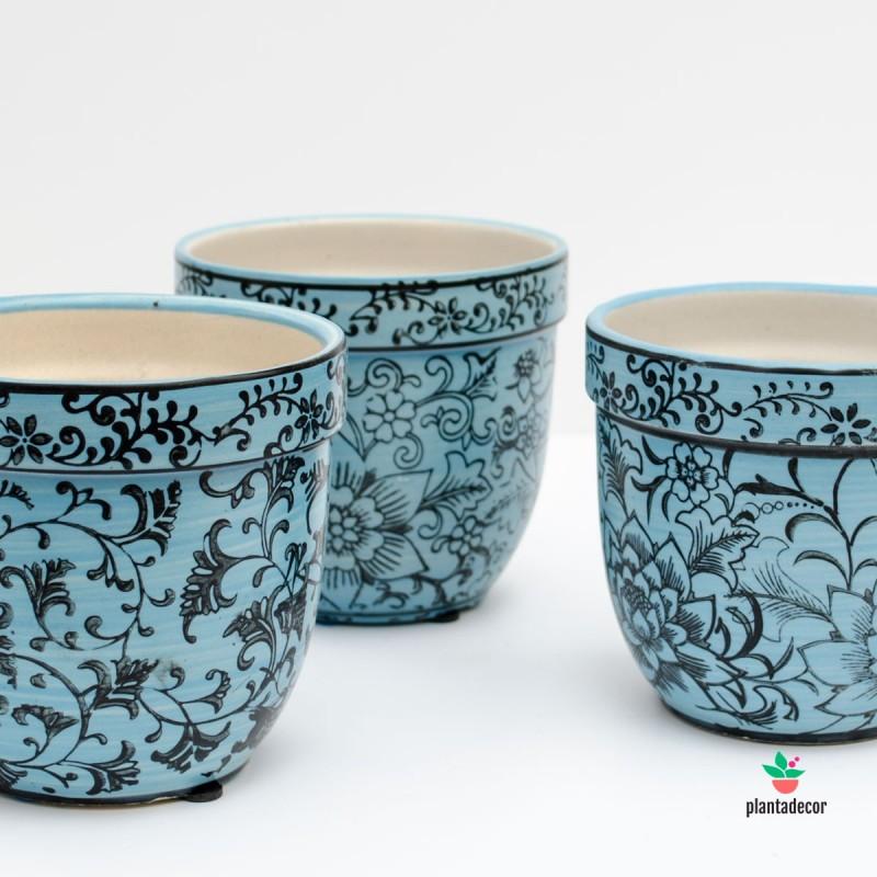 Maceta de loza Floral azul claro P