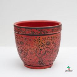 Maceta Loza Floral rojo M