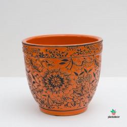 Maceta Loza Floral naranja