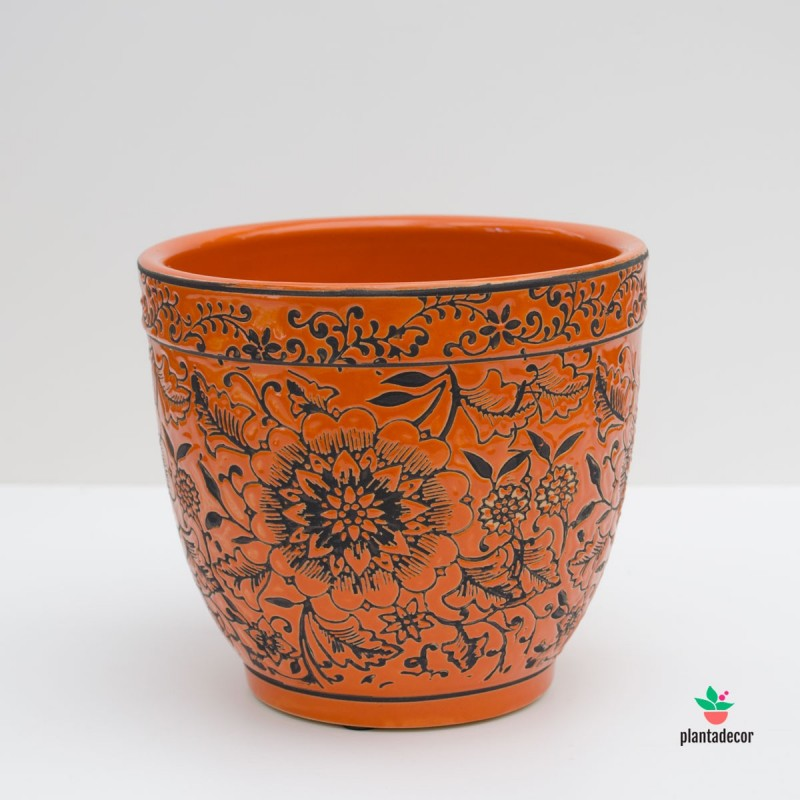 Maceta Loza Floral naranja M