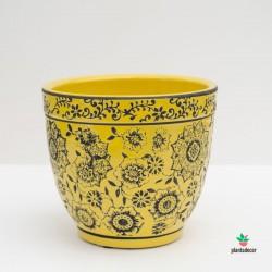 Maceta Loza Floral amarillo M