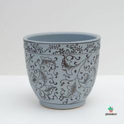 Maceta Loza Floral azul M