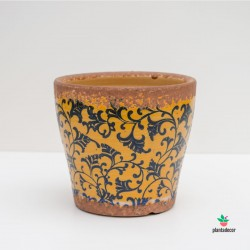 Maceta Loza Floral borde óxido Naranja