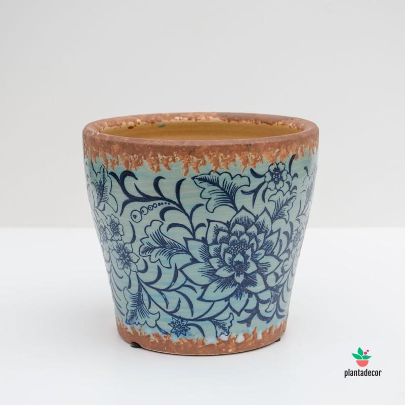 Maceta Loza Floral borde óxido Azul Celeste