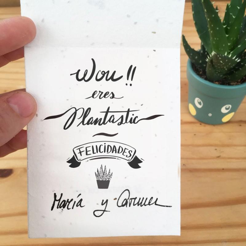 Tarjeta de semillas con dedicatoria y...