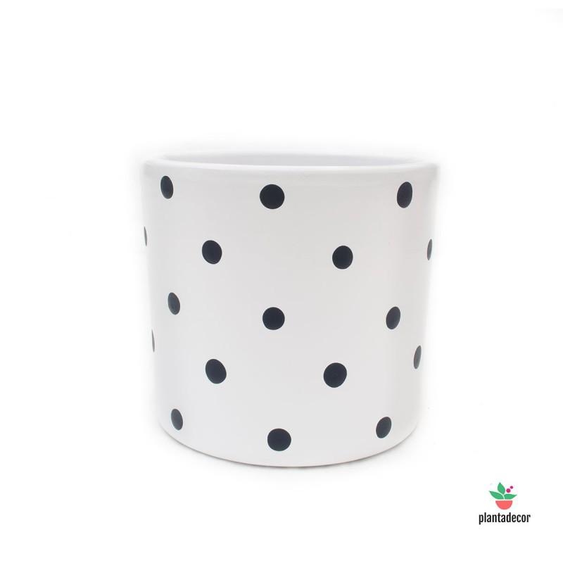 Maceta Cilíndrica Dots Blanco / Negro